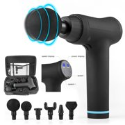 XtremepowerUS Powerful Electric Gun Cordless Percussion Massager 6 Massage Heads LCD Display w/ Carrying Case