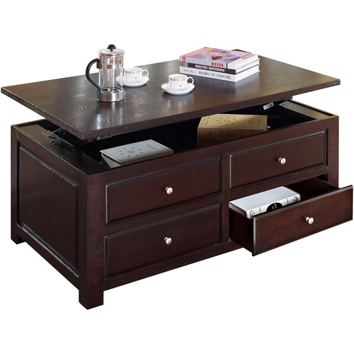 Delightful Malden Lift Top Coffee Table, Espresso