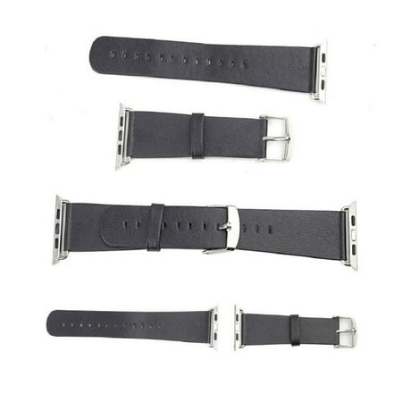 Microfiber PU Leather Strap for 42mm Apple Watch - Black Carbon Fiber Watch Straps