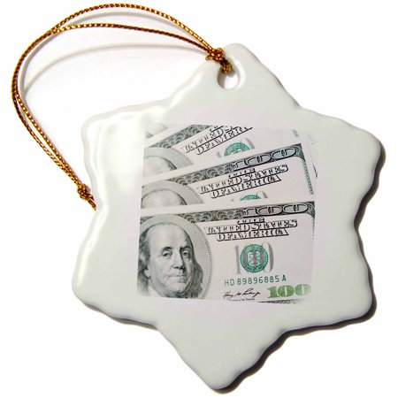 3dRose US Money, Currency, $100 Bills-CO04 RTI0000 - Rob Tilley - Snowflake Ornament, 3-inch