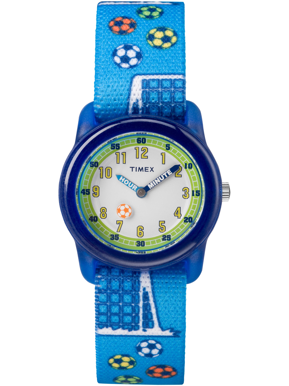 Boys Time Machines Blue Soccer Watch, Elastic Fabric Strap