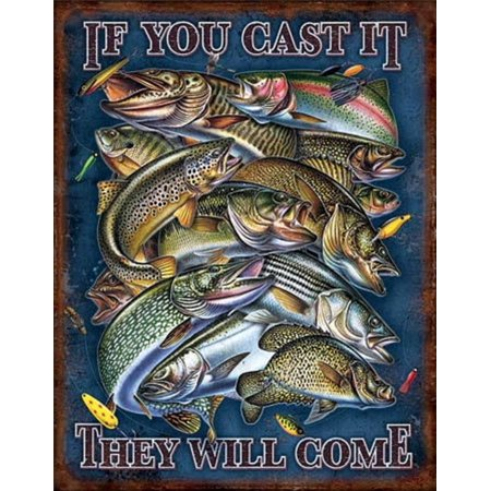 Come Sign - Fishing - If You Cast It They Will Come Distressed Retro Vintage Tin Sign 13 x 16in