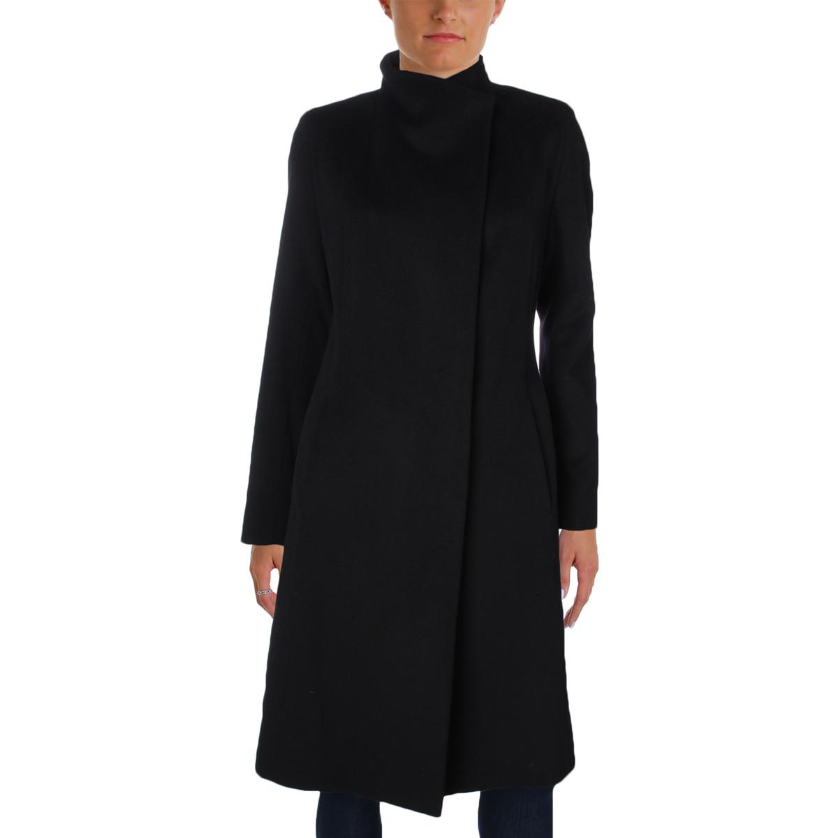 Cinzia Rocca Womens Wool Asymmetrical Neck Pea Coat by Cinzia Rocca
