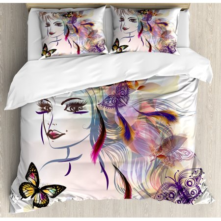 Fairies Duvet Cover Set (Fairy Duvet Cover Set, Beautiful Girl Drawing Design with Butterflies Nature Illustration Facial Expression, Decorative Bedding Set with Pillow Shams, Multicolor, by Ambesonne )