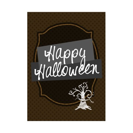 Happy Halloween Print Brown Polka Dot Background Tree Picture Seasonal Decoration Sign