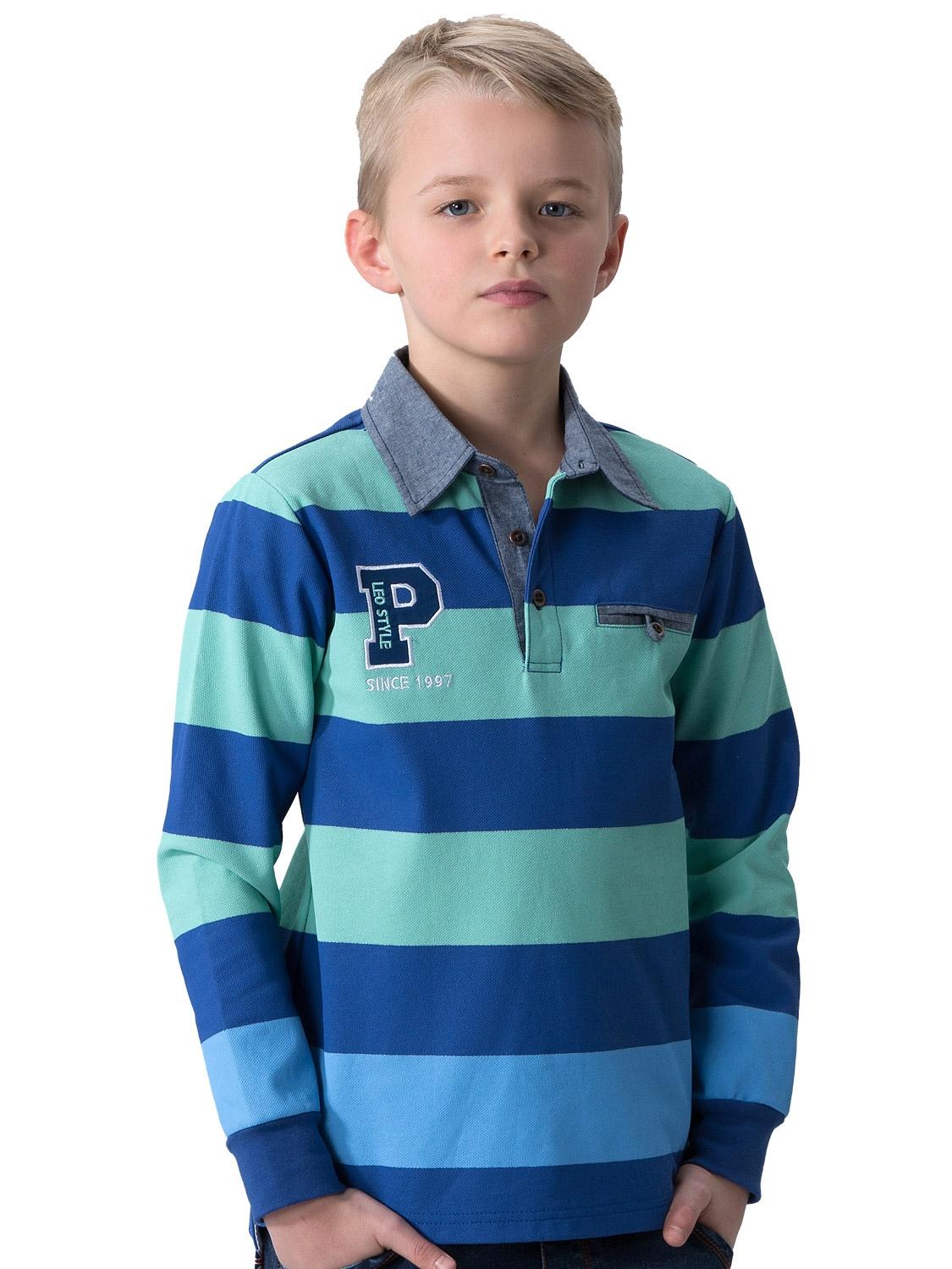Leo&Lily Big Boys' Kids Yarn Dyed Polo Shirts Chambary CollarsT-Shirt