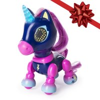 Zoomer - Zupps Tiny Unicorns, Midnight, Interactive Toy Unicorn with Light-up Horn, for Ages 4 and Up