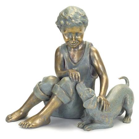 dog garden statue. Melrose International Boy With Dog Garden Statue O