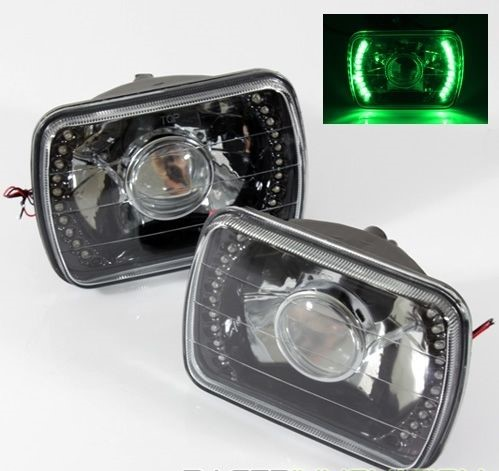 1982-1995 Toyota Pickup 7x6 H6052/H6054 Semi-Sealed Beam Black Diamond Red LED Projector Headlights