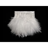 1 Yard - Snow White Marabou Turkey Fluff Feather Fringe Trim