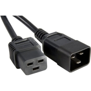 1FT C19-C20 BLACK POWER CORD UL 20AMP SJT 12AWG 105 JACKET