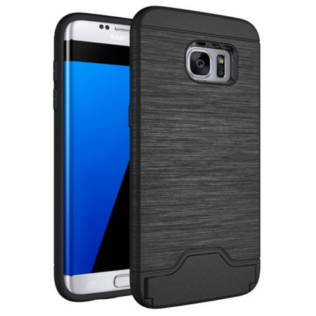 TORUBIA heavy duty dual layer protective case with card slots and flip stand suitable for Samsung Galaxy S7 Edge black - image 1 de 7