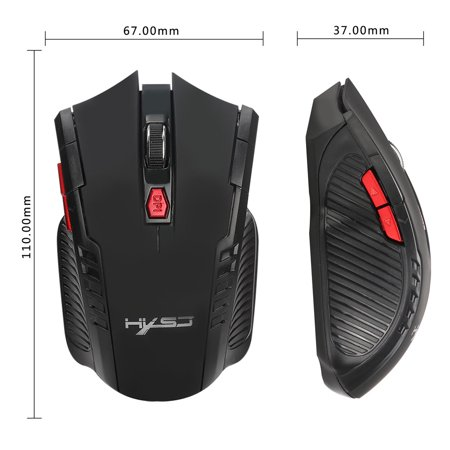 New Fashion 2400DPI 6 Buttons 2.4Ghz Mini Wireless Optical Gaming Mouse For PC Laptop BK