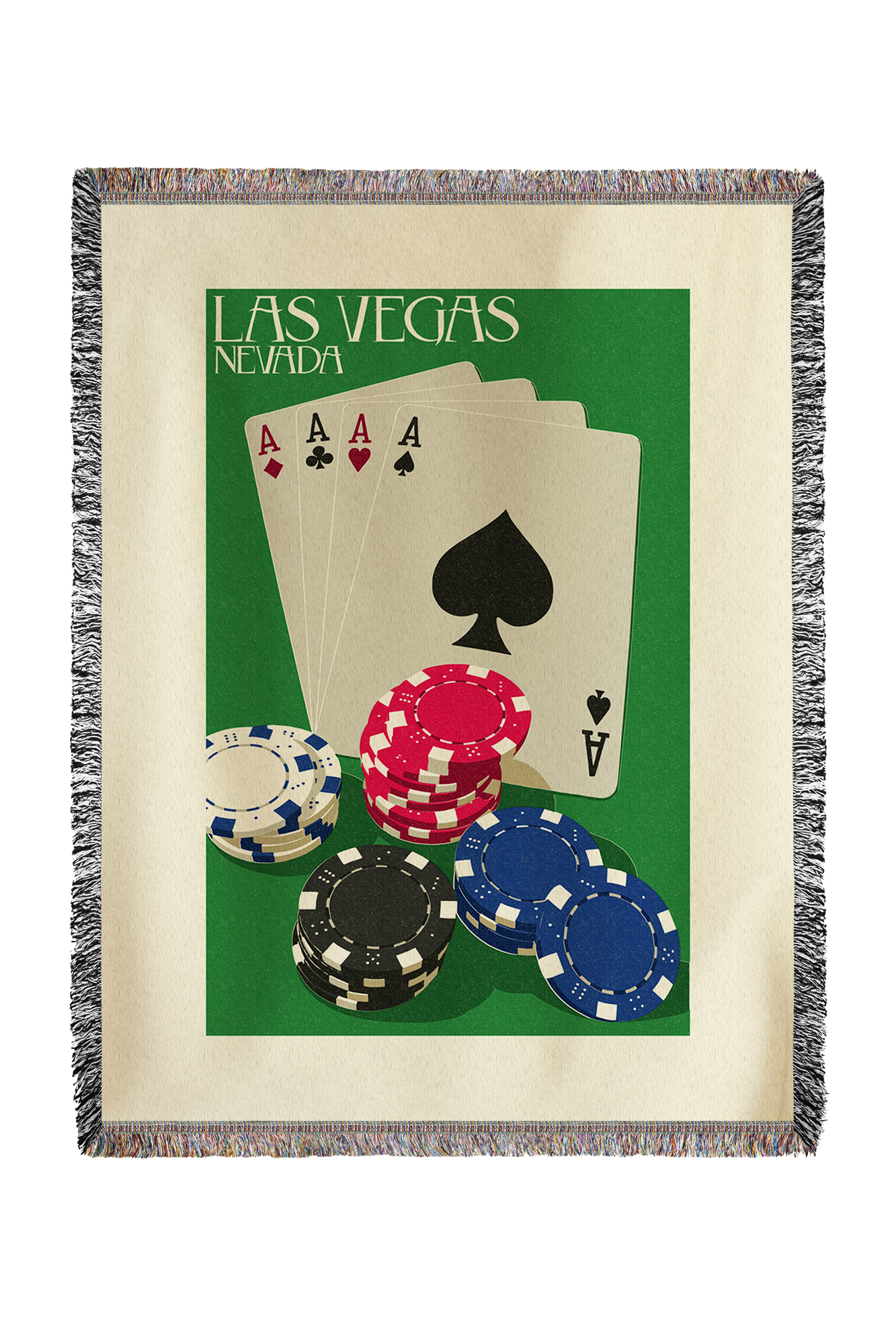 Las Vegas, Nevada Poker Cards & Chips Letterpress Lantern Press Artwork (60x80 Woven Chenille Yarn Blanket) by Lantern Press