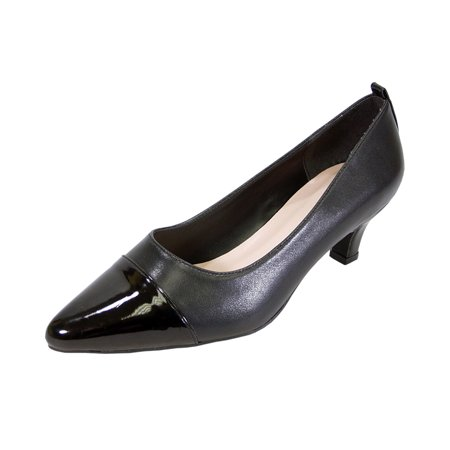 PEERAGE Arlene Women's Wide Width Casual Comfort Mid Heel Dress Shoes for Wedding, Prom, Evening, Work BLACK