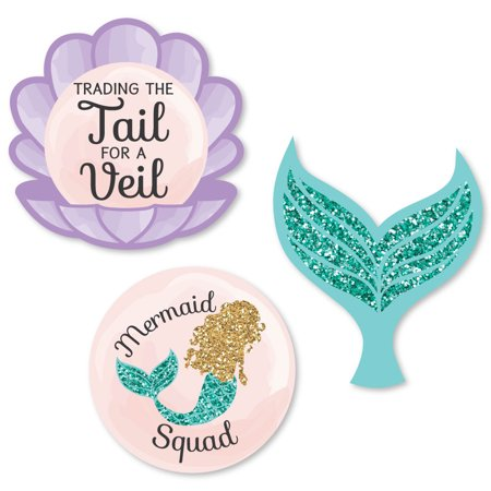 Trading The Tail For A Veil - DIY Shaped Mermaid Bachelorette Party or Bridal Shower Cut-Outs - 24 Count
