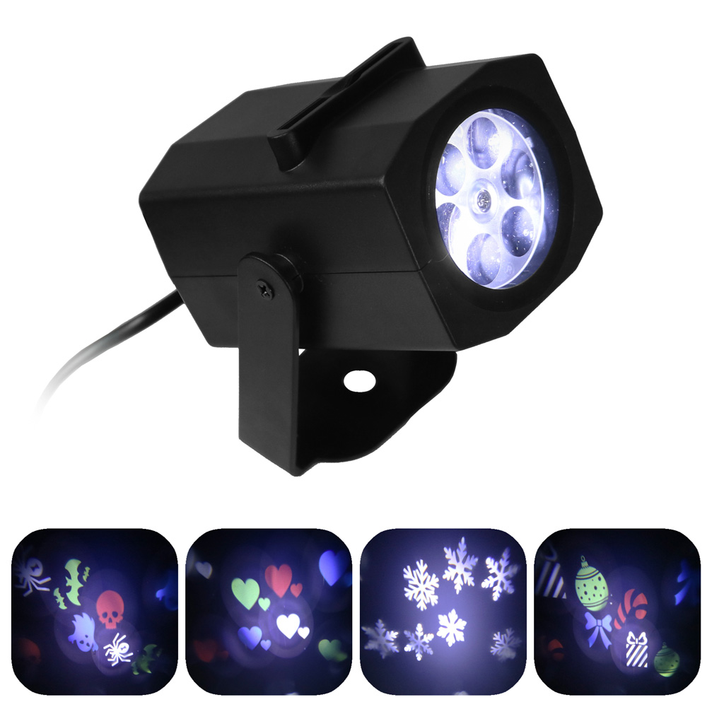 Sunnydaze Indoor LED Projector Lights with 4 Multi-Color Interchangeable Pattern Slides, Halloween, Christmas, Hearts and Snowflakes