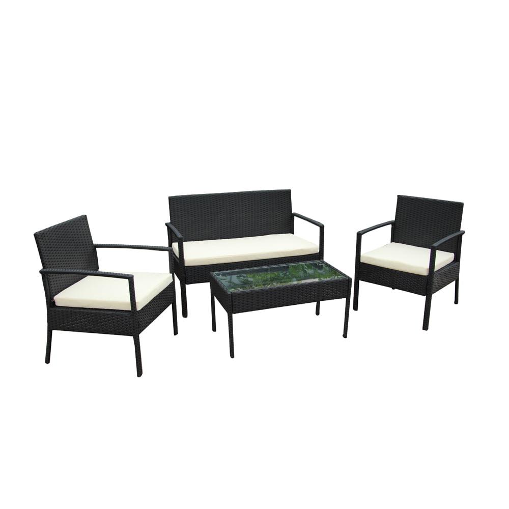 Aleko Linosa Set Rattan Wicker Furniture 4 Piece Indoor Outdoor