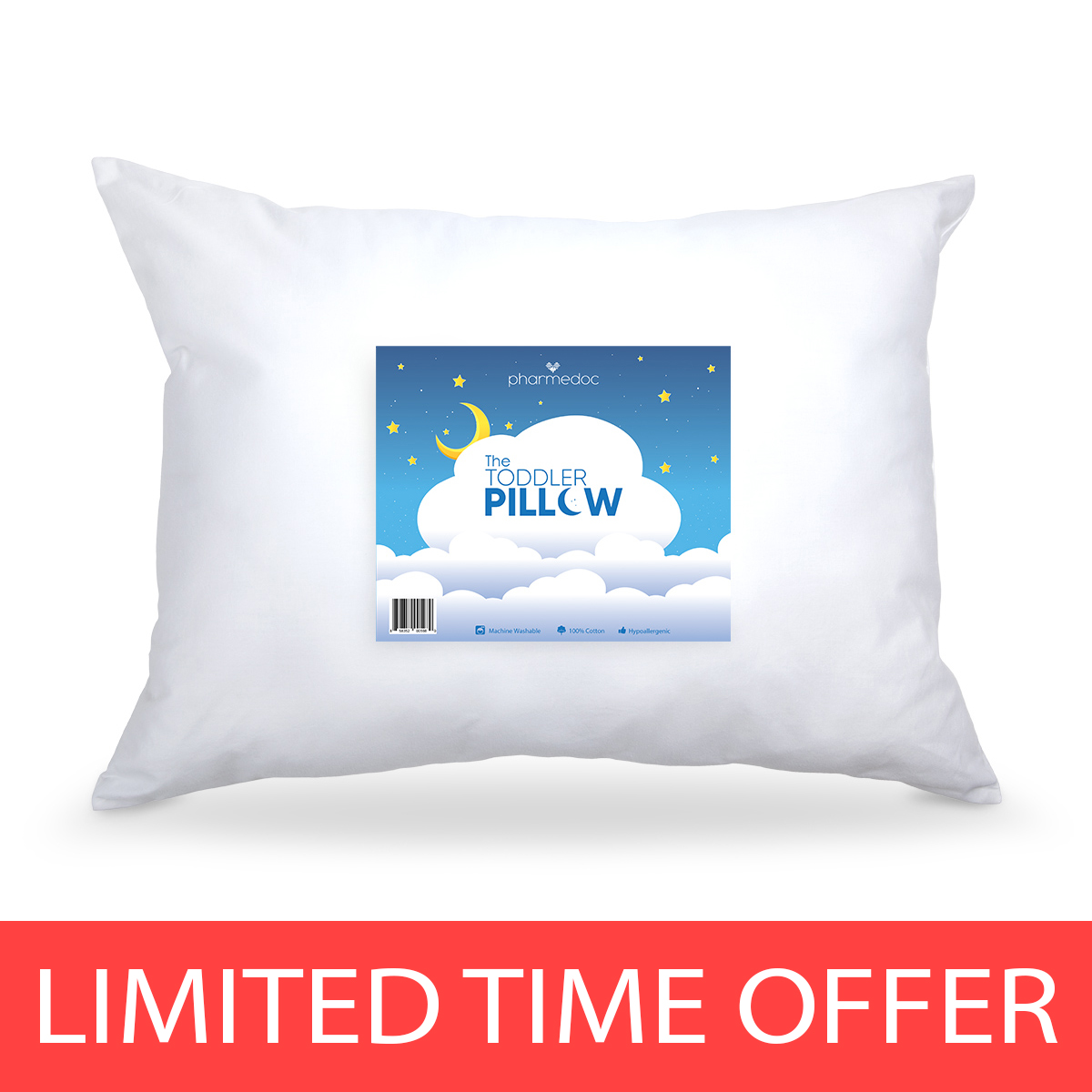 "Hypoallergenic Toddler Pillow Small Pillow for Kids 14"" X 19"" by PharMeDoc"