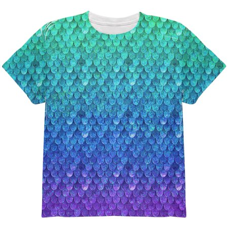 Halloween Mermaid Scales Costume All Over Youth T Shirt