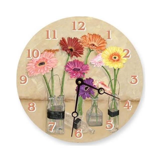 Lexington Studios 23-Large Round Clock:23096-LR Gerber Daisy Bottles 18 inch  Round Clock