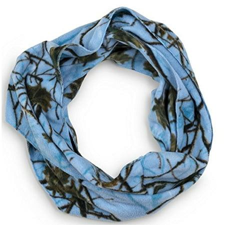 Women's Fleece Camo Infinity Loop Scarf Sky Blue Camo