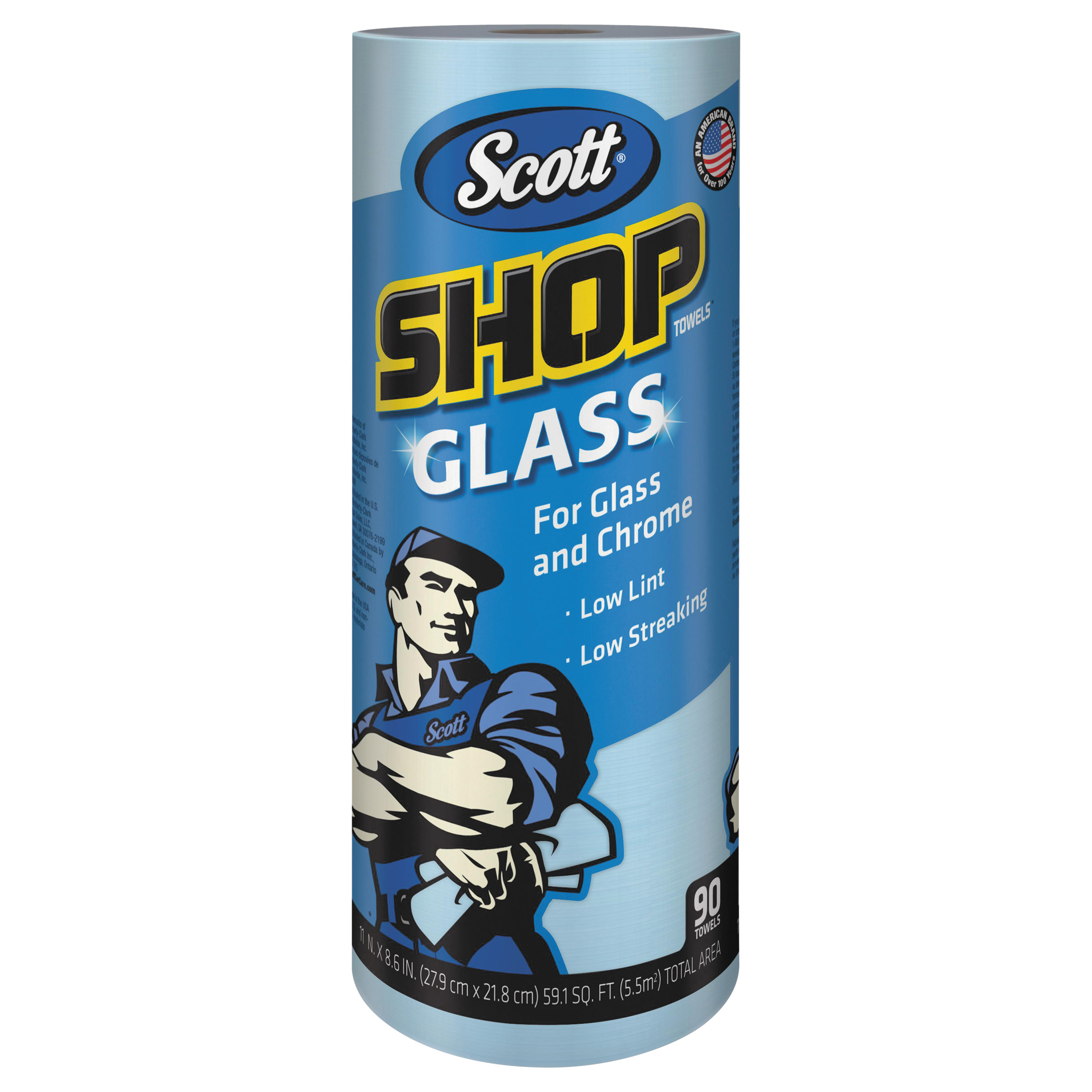 Scott Professional Glass & Chrome Shop Towels, Low Tint, Low Streaking, 90 Sheets
