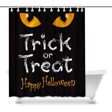 MKHERT Halloween Decoration Trick or Treat with Cat Eye House Decor Shower Curtain for Bathroom Decorative Bathroom Shower Curtain Set 60x72 inch - Halloween Decorations For Bathroom