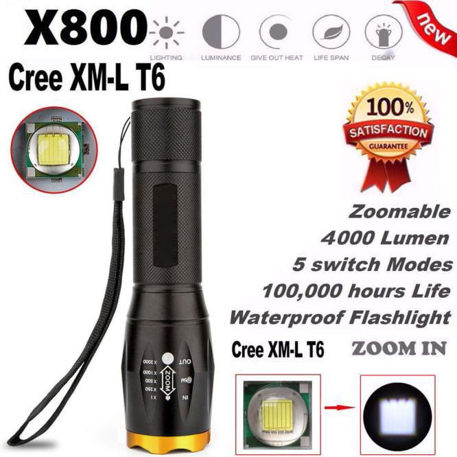 DZT1968 G700 X800 LED Tactical Military XM-L T6 Flashlight Torch Waterproof Zoom