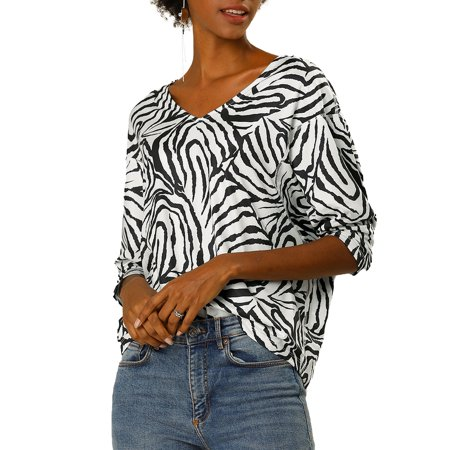 Women's Animal Zebra Print V Neck Dolman Sleeve Loose Blouse Top L White Black