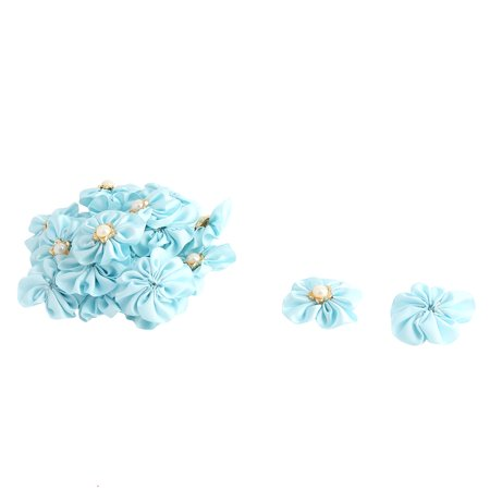 Lady Dress Hat Decor Satin Faux Pearl Inlaid DIY Ribbon Flower Light Blue 20 Pcs