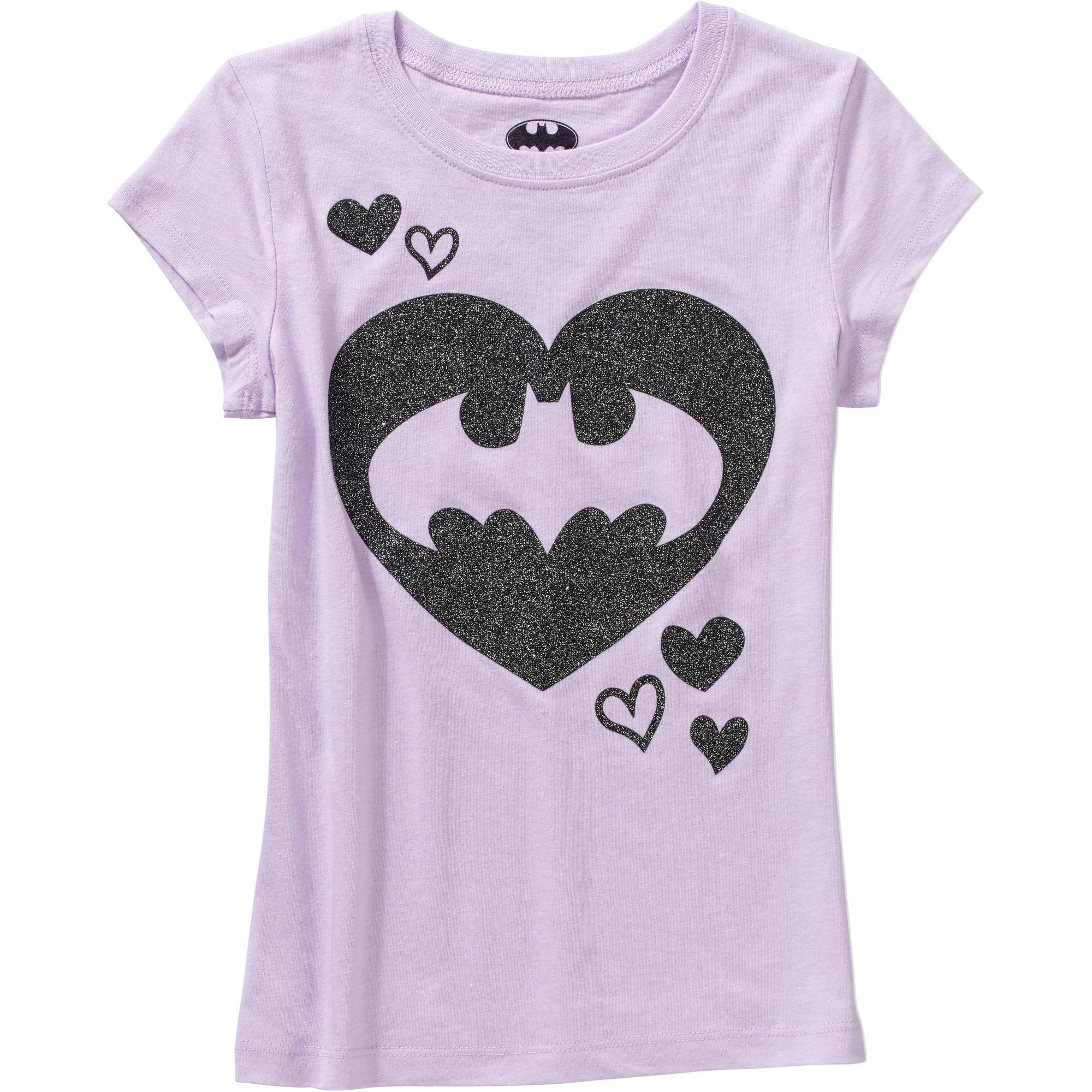 Batman Girls' Batgirl Glitters Short Sleeve Crew Neck Graphic Tee
