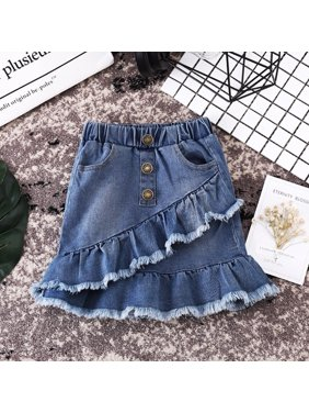 Boutique Toddler Kids Girls Blue Denim Mini Skirt Short Dress Jeans Skirt 1-6T
