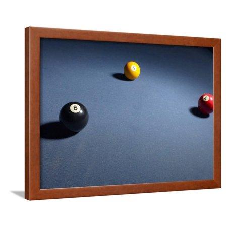 Pool Balls on Blue Felt Pool Table Framed Print Wall Art - Walmart.com