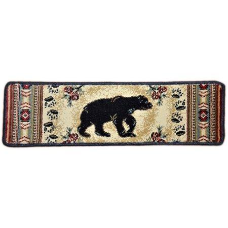 Bear Stairs Mini (Dean Premium Carpet Stair Tread Rugs - Black and Red Bear Cabin Lodge 31