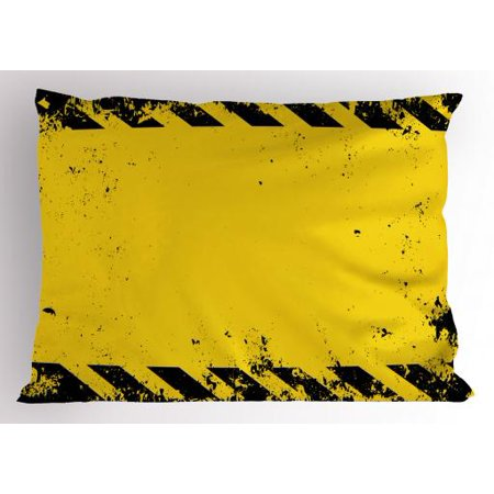 Vintage Yellow Pillow Sham Hazard Theme Caution Construction Tape Illustration with Grunge Look, Decorative Standard Queen Size Printed Pillowcase, 30 X 20 Inches, Yellow and Black, by Ambesonne