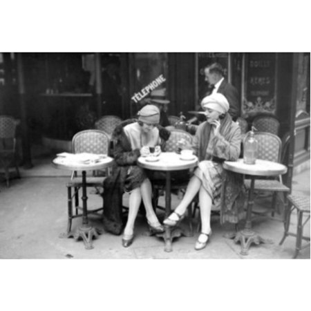 Vintage Jeunes Femmes   Girls at cafe   36x24 Photograph Art Print Poster Black and White Woman Sitting Outside