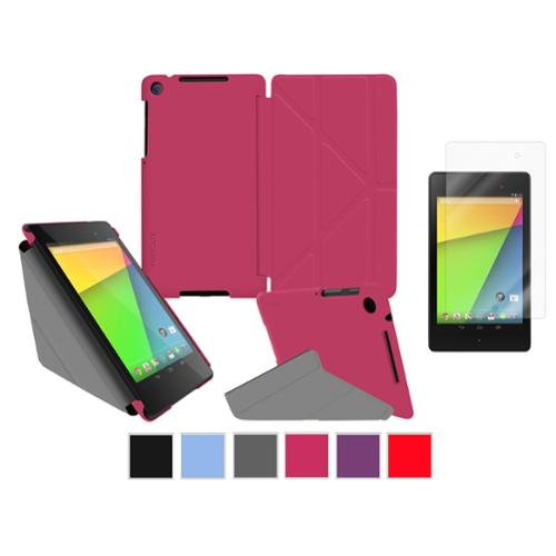 roocase Google Nexus 7 2013 Case Bundle - Slim Shell Origami Folio Stand Smart Cover (Supports Auto Sleep/Wake) with Ultra HD Clear Screen Protector for Nexus 7 FHD 2nd Gen, Magenta