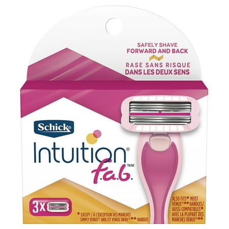 Schick Intuition f.a.b. Women's Razor Blade Refills, 3 Ct