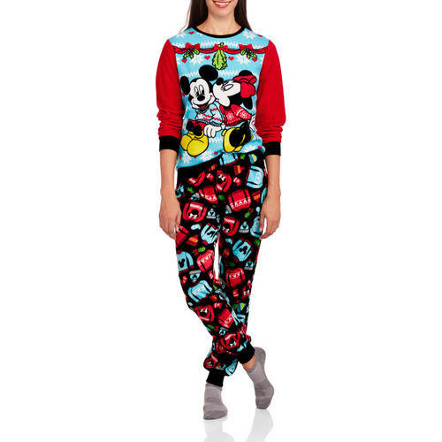 Mickey and Minnie Mouse Womens 2 Piece Pajama Set