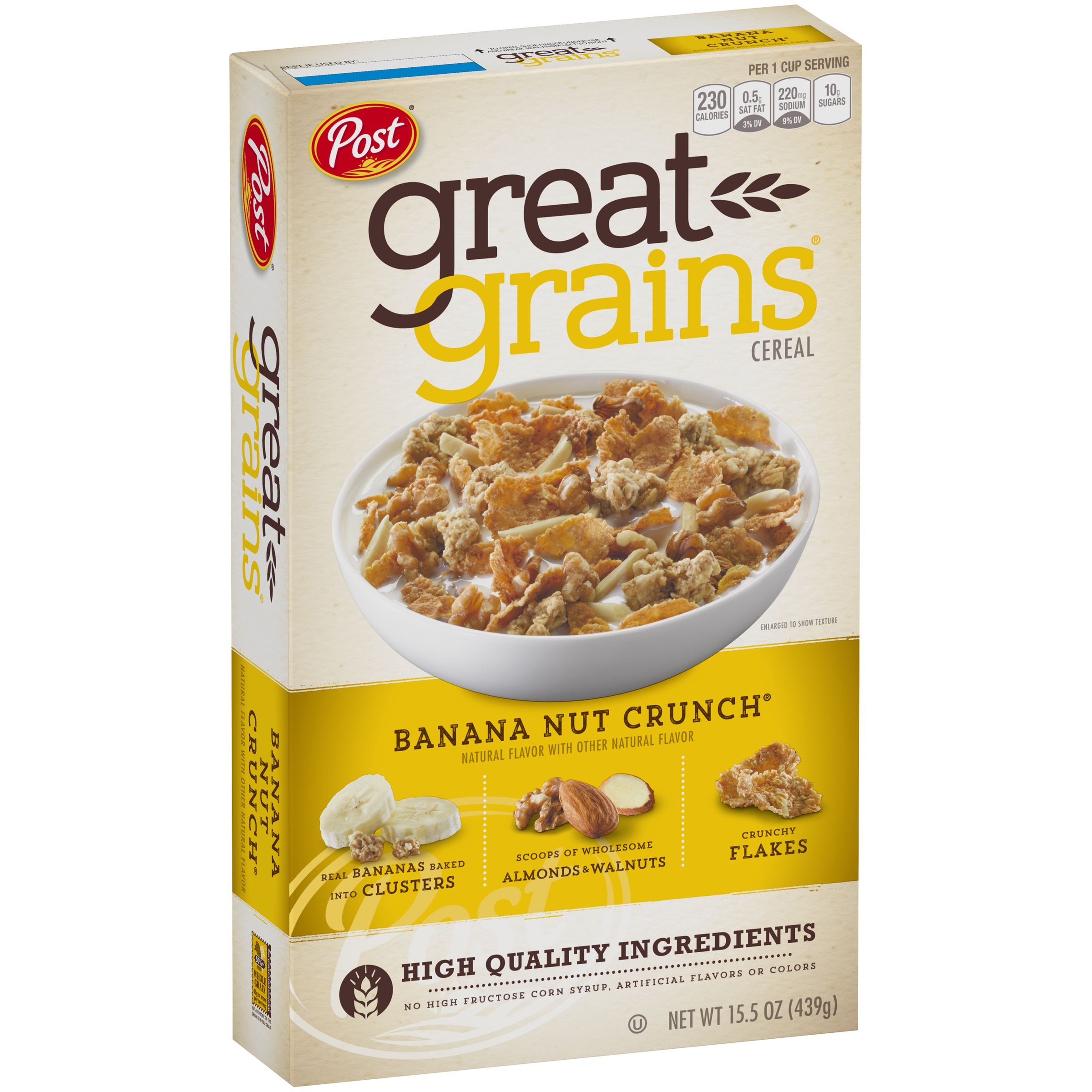 Post Great Grains Breakfast Cereal, Banana Nut Crunch, 15