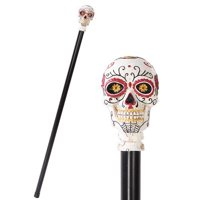 Day Of The Dead Skull Walking Cane Made of Polyresin Not Medically Approved To Support Weight