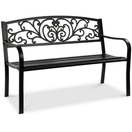 Best Choice Products 50in Steel Garden Bench for Outdoor, Porch, Patio Furniture Chair w/ Floral Design Backrest - Black