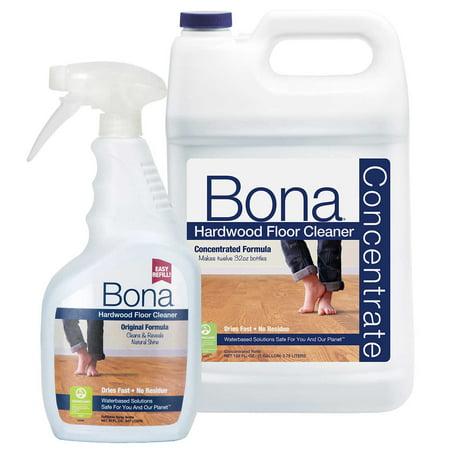 Bona Hardwood Floor Cleaner Concentrate 128 fl. oz. Refill + 32 fl. oz. Spray Bottle 128 Oz Concentrate Bottle