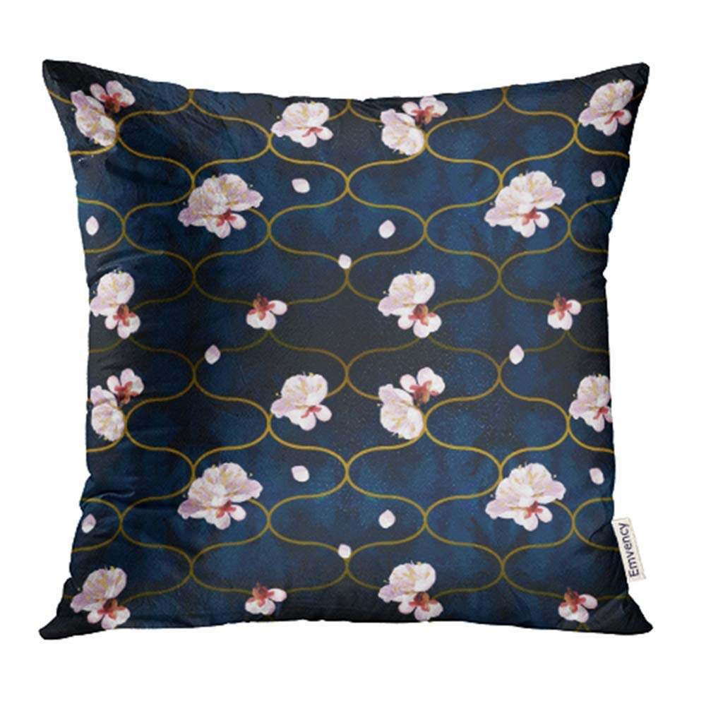 USART Spring Blossom Mood Tony Gold Waves Shapes with Plum Tree Flowers Pillow Case Pillow Cover 16x16 inch Throw Pillow Covers