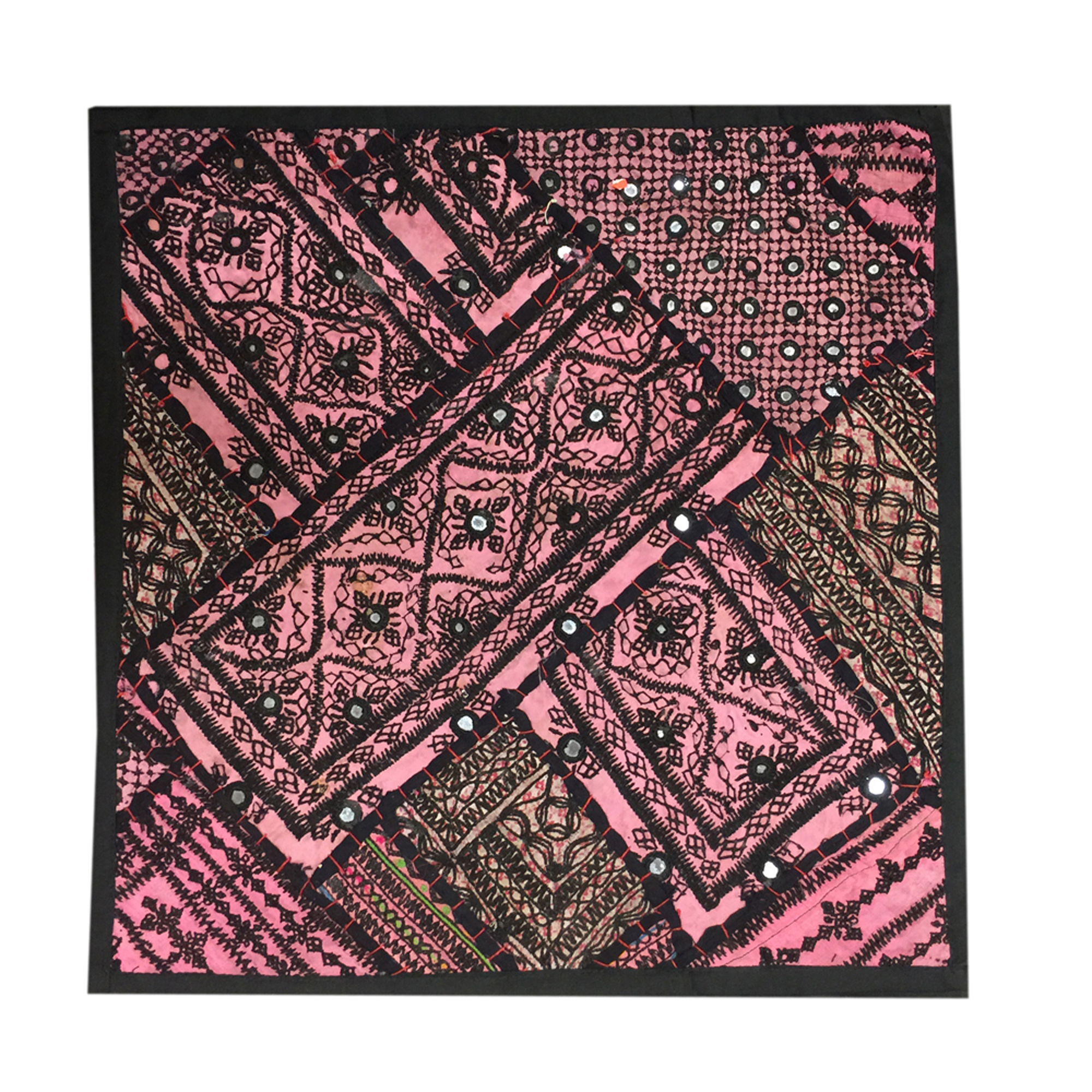 Mogul Pink Indian Throw Pillow Cover Vintage Kutch Embroidered Tapestry Cushion Cover 18x18