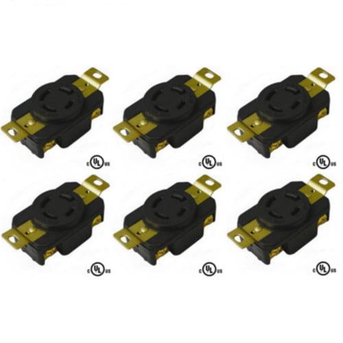 20A 250V AC cUL Listed 1 NEMA L6-20 Locking Plug 2 Pole 3 Wire