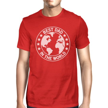 World Best Dad Mens Red Cotton T-Shirt Unique Design Tee For