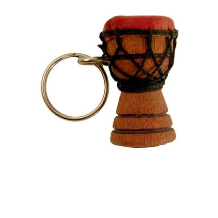 - Djembe Drum Key Chain - Solid Carved Wood, Goat Skin, and Rope!