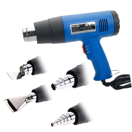 Gun, Electric Dual Temperature Hand Held Heat Shrink Gun Blower Power Tool Kit with 4 Nozzles, for Removing Paint, Plastic, Stickers, Floor Tiles (Variable Temperature Electronic Heat Gun)